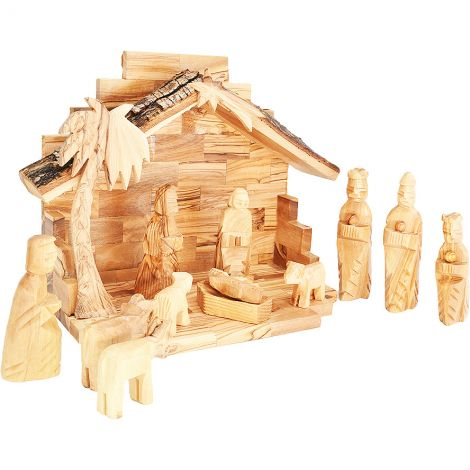 Olive Wood Christmas Nativity Set - Natural Bark Roof - 12 Piece - Made in Israel