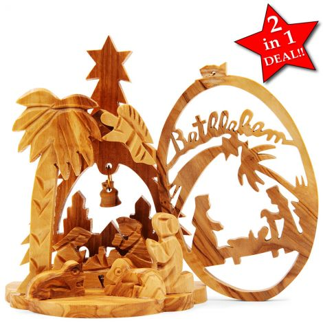 '2 in 1' Olive Wood Christmas Nativity Scene with Bethlehem Tree Decoration