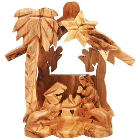 Olive Wood Nativity Creche Ornament with Two Angels