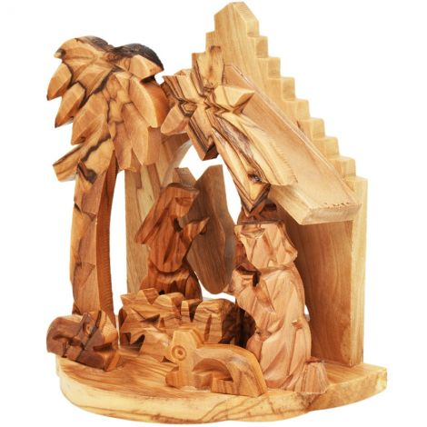 Olive Wood Nativity Creche Ornament with Two Donkey (side view)