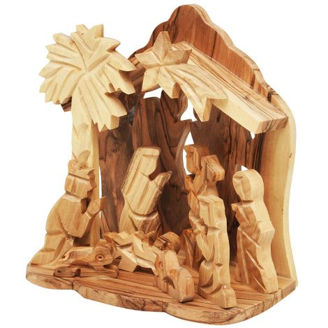 Christmas Nativity Creche Stable Olive Wood Ornament