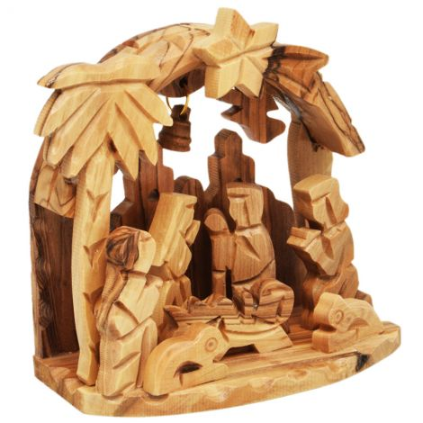 Christmas Creche Arched Olive Wood Ornament with Bell