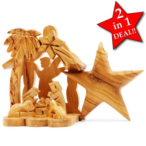 Nativity Scene with Christmas Tree Decoration in Olive Wood