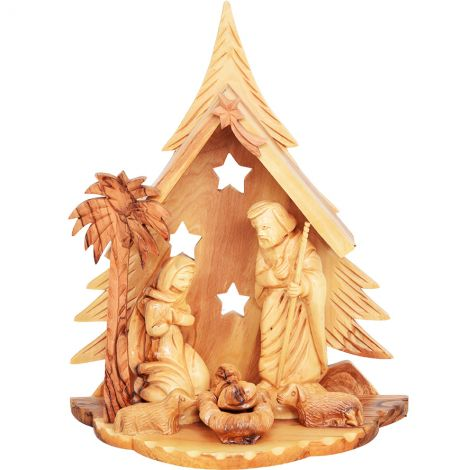 Wooden Christmas Nativity Tree Ornament - Made in Israel