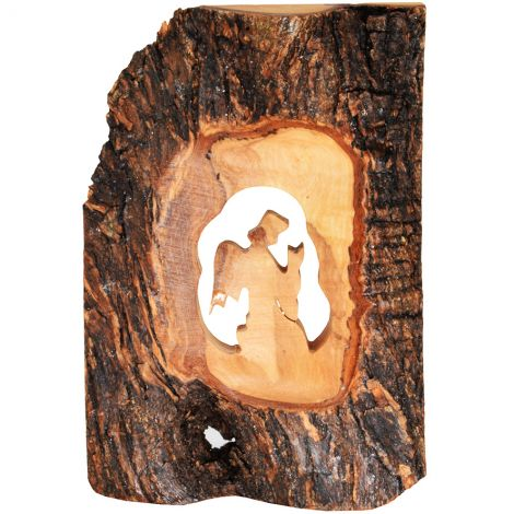Olive Wood 'Angel Praying' Log with Bark Ornament - 5""