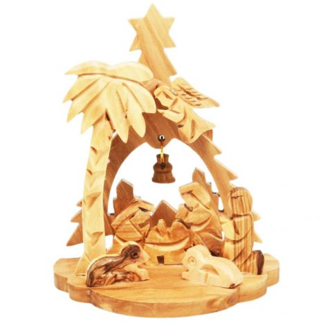 Christmas Tree' Olive Wood Creche Ornament with Angel and Bell