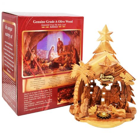"Olive Wood Musical Nativity Bethlehem Christmas Tree - 8"" inch"