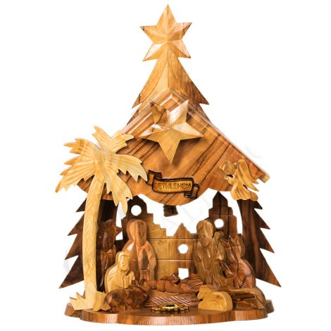 Musical Christmas Nativity - Olive Wood - 8 inch - Made in Bethlehem