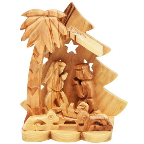 Olive Wood Christmas Tree Creche - Made in Bethlehem