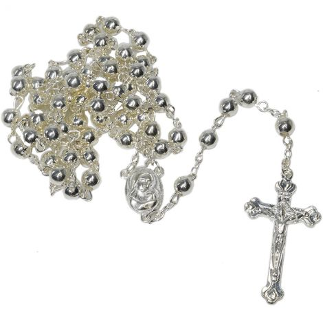 Round Chrome Rosary Beads with 'Jesus and Mary' Icon & Holy Soil