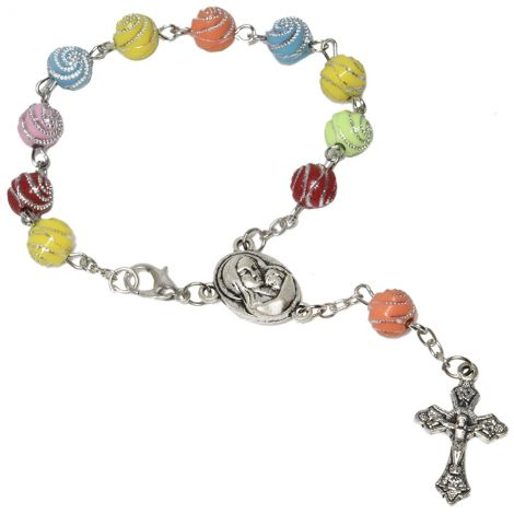 Colorful Decorated Balls Rosary Bead Bracelet with 'Jesus & Mary' Icon