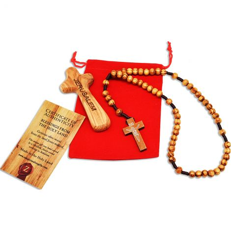 Olive Wood 'JERUSALEM' Comfort Cross & Rosary - Gift of Faith