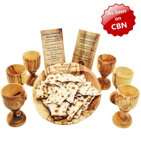 Engraved 'The Lord's Supper' Olive Wood Communion Dish and 6 Cups