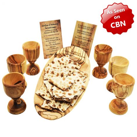Engraved 'The Lord's Supper' Olive Wood Oval Communion Dish and 6 Cups