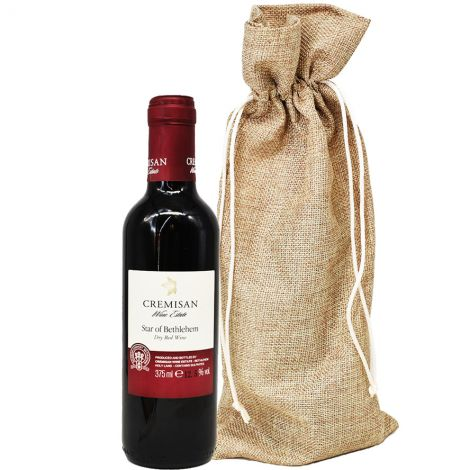 Cremisan 'Star of Bethlehem' Dry Red Wine from the Holy Land - 375ml with sackcloth bag
