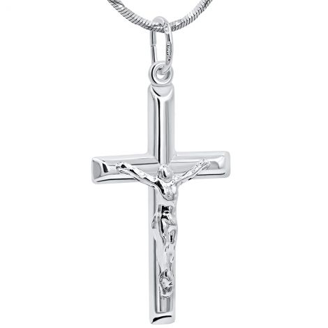 "Sterling Silver Crucifix Pendant - Made in the Holy Land - 1"" inch"