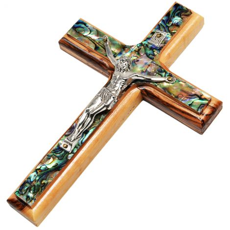 Olive Wood and Mother of Pearl Cross with metal Crucifix - 6""