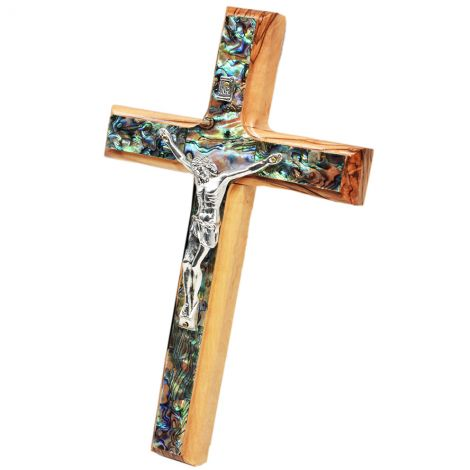 Olive Wood Cross with metal Crucifix and Mother of Pearl - 8""