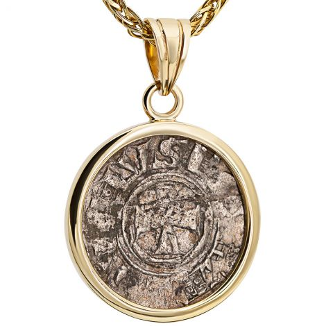 Silver 'Crusaders to Liberate Jerusalem' Coin 14k Gold Pendant