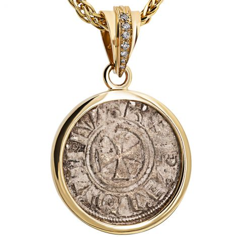 Crusaders to Liberate Jerusalem' Coin 14k Gold and Diamond Pendant