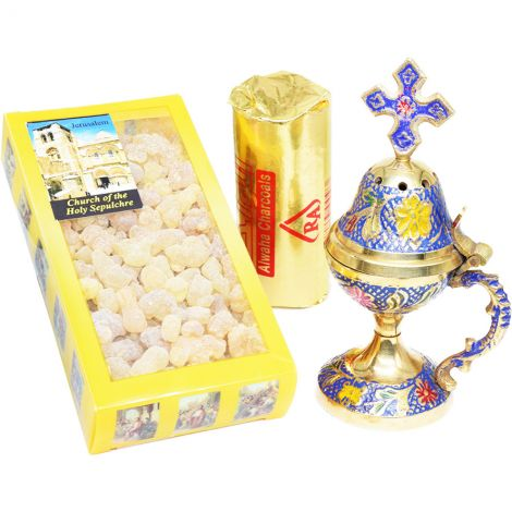 Brass Incense Burner with Cross, Pure Frankincense and Charcoal Kit