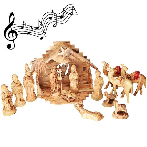 """Deluxe Musical Olive Wood Nativity Set - Made in Bethlehem - 12.5"""""""