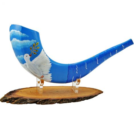 """Dove of Peace"" Decorated Ram's Horn Shofar By Sarit Romano"