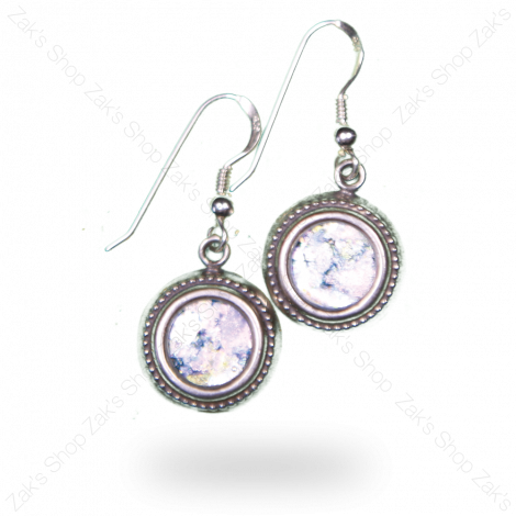 Classical 'Roman Glass' Round Earrings - Silver - Made in Israel