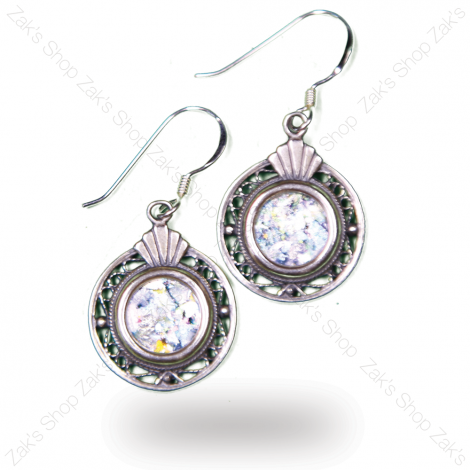 Round Traditional Ornate 'Roman Glass' Earrings - Sterling Silver