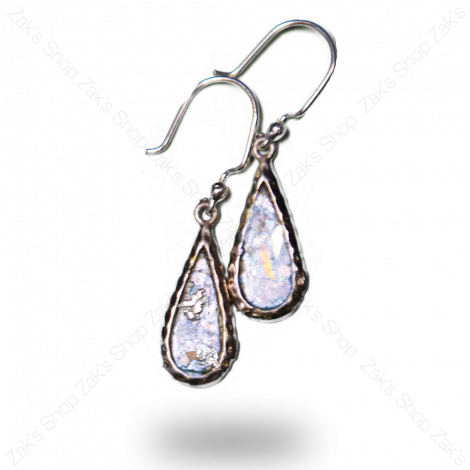 Roman Glass 'Teardrops' Silver Earrings - Made in the Holy Land