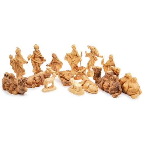 Olive Wood Nativity Figurines - Deluxe Set - Made in Bethlehem