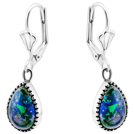 'Solomon Stone' Framed Teardrop 925 Silver Earrings from Israel