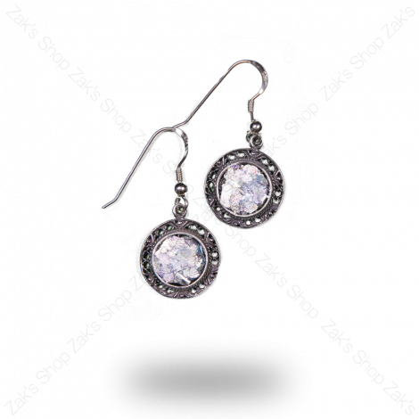 Roman Glass set in Sterling Silver Round Frame Earrings