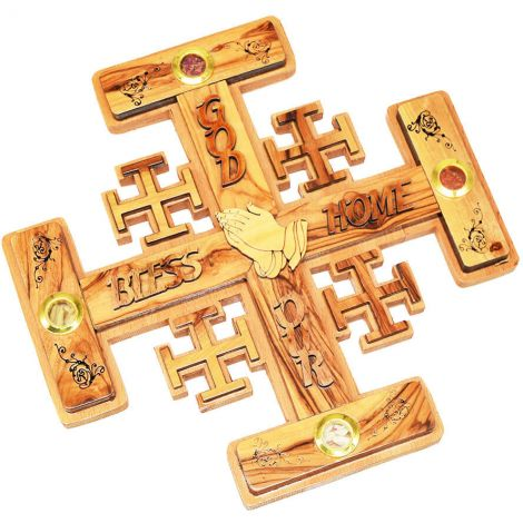 'God Bless Our Home' Olive Wood 'Jerusalem Cross' with praying hands and incense