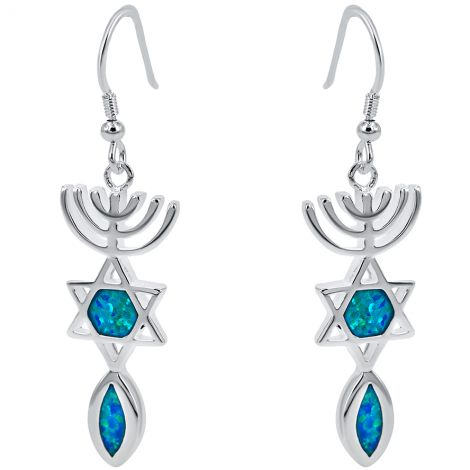 Messianic 'Grafted In' Earrings in Sterling Silver with Opal