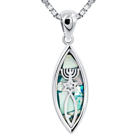 Roman Glass 'Grafted In' Messianic Seal - Sterling Silver Pendant