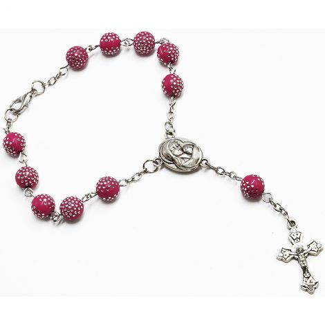 Hand Rosary - Catholic Rosaries from Jerusalem - Pink Beads