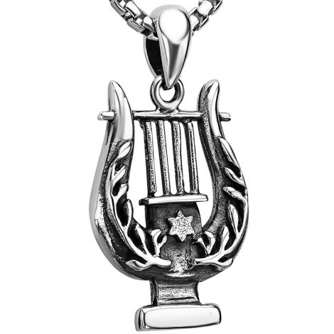 King David Harp Pendant in Sterling Silver with Star of David