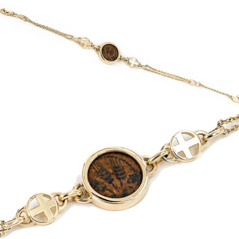 Herod Agrippa I' Coin set in 14k Gold Bracelet with Cross - Made in Israel
