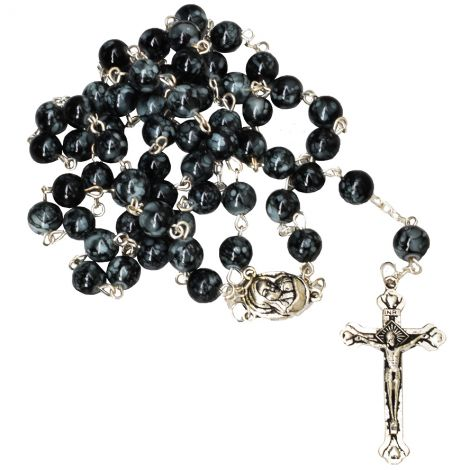Marble Rosary Beads with 'Mary and Jesus' Icon - Jerusalem Soil and Crucifix