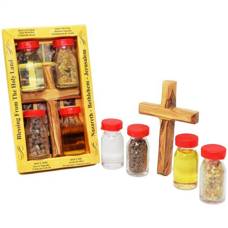 Holy Land Elements - Olive Wood Cross with Water, Oil, Incense and Soil