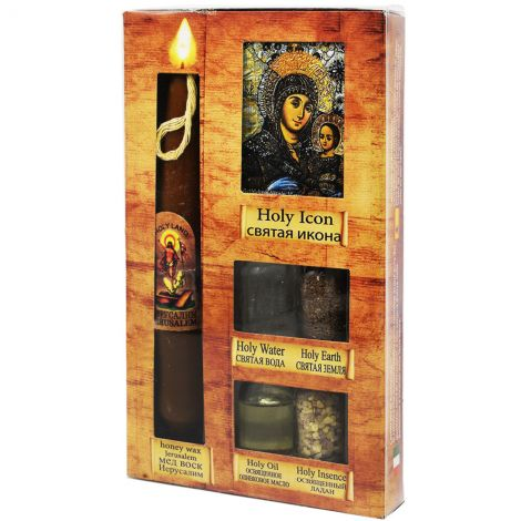 Elements of the Holy Land with Honey Candle and Icon