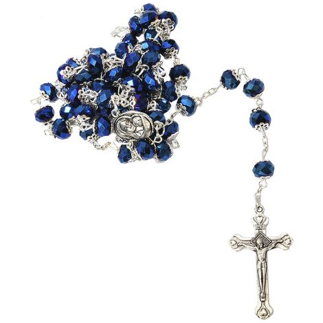 Holy Rosary Beads - Sparkling Blue with Soil from Jerusalem