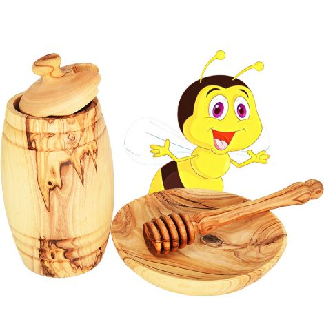'Honey Pot, Dipper and Dish' made from Olive Wood in Israel