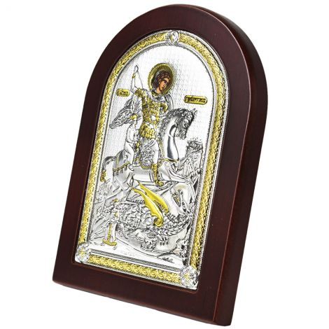 Arched 'Saint George Slaying the Dragon' Icon - Silver Plated with Wood