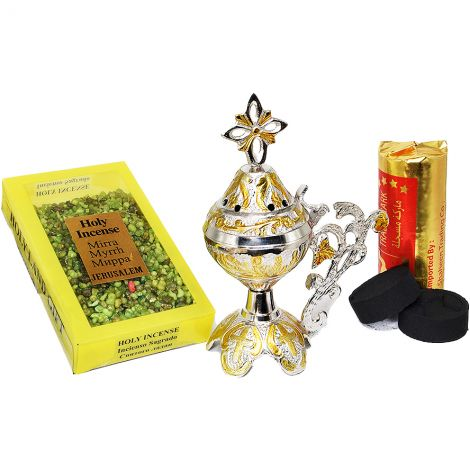 Incense Burner with Cross, Myrrh Incense and Charcoal