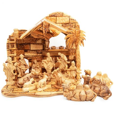 Musical Nativity Set with Camels from Olive Wood - Made in Israel