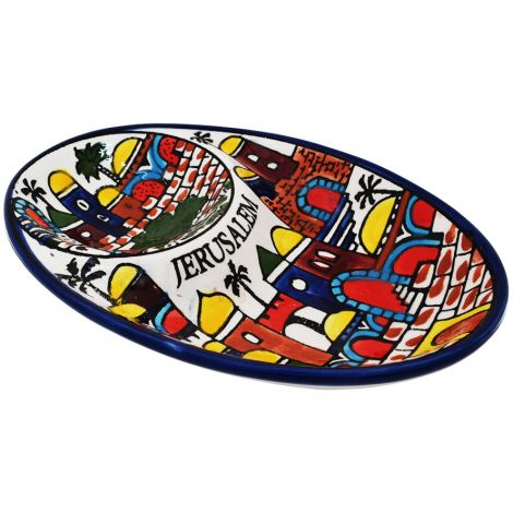 Armenian Ceramic 'Jerusalem' Double Snack Dip Dish