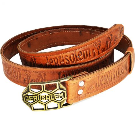 Jerusalem Belt with Brass Buckle and Camel Leather - Made in Israel