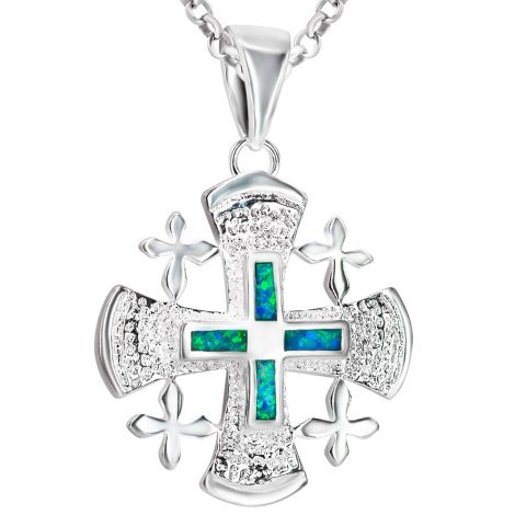 The 'Jerusalem Cross' 4 Gospels Sterling Silver and Opal Necklace